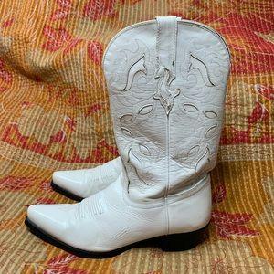 Tony Lama White Leather Cowboy Boots Size 6B
